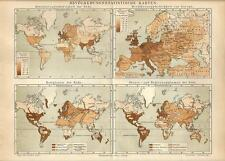 Carta geografica antica DEMOGRAFIA e RELIGIONI nel MONDO 1890 Old antique map