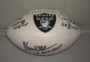 Oakland Raiders Super Bowl MVPs signed Logo Football - PSA/DNA - Biletnikoff, Pl