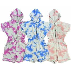 Kids Girls Tie & Dye Party Outfit Playsuits Jumpsuits Romper Shorts Summer Dress