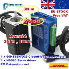 【EU Free】2 Sets 3N.m Nema24 88mm Hybrid Closed Loop Servo Motor 6A+HSS60 Driver