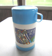Vintage SUPER BOTS LUNCH PLASTIC WHITE BLUE SIPPY THERMOS 8 oz. Go