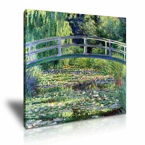 Claude Monet Water Lilies Pond with Bridge Modern Wall Art Stretched Canvas