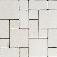 Crema luminous Mini French Pattern Tumbled Limestone Mosaic
