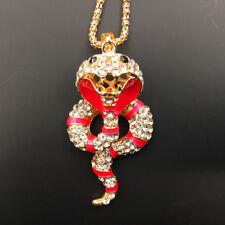 Pink Enamel Crystal 3D Cobra Snake Betsey Johnson Pendant Necklace Sweater Chain