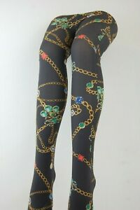 Patterned Tights Printed Funky Alternative Tattoo  Suspender Bright Colours