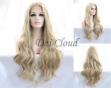 Ladies Charming Long Ombre Blonde Synthetic Lace Front Curly Hair Daily Full Wig