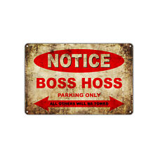 Boss Hoss Motorcycles Parking Sign Vintage Retro Metal Art Shop Man Cave Bar