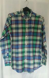 "Ralph Lauren Shirt Green check  XL 18 20 Mens Boys Collar 15"" Small Pony New"
