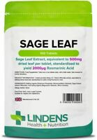 Sage Leaf 500mg Tablets 100 Pack Menopause Support Hot Sweats Flushes Lindens