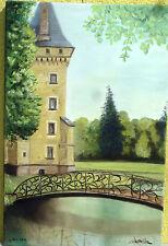 """tableau peinture huile """"Château de Meillant (détail)"""""""