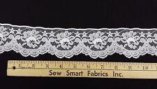 """Scalloped Floral Lace Trim: White, 2.25"""" W, 5 yd. min., CTO"""