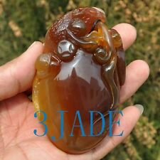 91mm Hand Carved Natural Chalcedony / Agate Lizard Paperweight / Amulet
