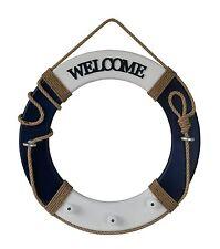 Seaside Nautical Theme Wood Life Ring Welcome Wall Hanging Decor Greeting Navy