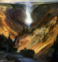 Oil art Thomas Moran - The Grand Canyon of the Yellowstone with waterfall canvas