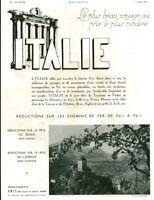 Publicité ancienne voyage en Italie chemins de fer 1936  issue de magazine