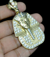"Mens Solid 10K Yellow Gold Egyptian Pharaoh King Tut 2.4"" Pendant Charm Necklace"