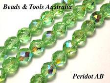 Czech Fire Polished Glass Bead 10mm Peridot AB Czech Beads (25pc) BEADS & TOOLS