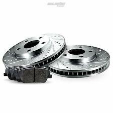 Fit 2008-2009 Volvo S60 Rear PSport Drill Slot Brake Rotors+Ceramic Brake Pads