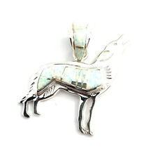 Native American Sterling Silver Navajo White Opal Wolf Pendant