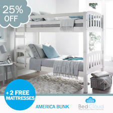 Europa America 3FT x 5FT3 Short Single White Wooden Bunk Bed + 2 Free Mattresses