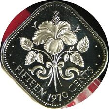 elf Bahamas 15 Cents 1970 Proof  Hibiscus  Flower