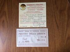 PRESTITO DELLA LIBERTA' TITOLO DA LIRE 1000 1944 MOLTO RARA TIMBRO A SECCO SUP