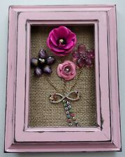 Vintage Jewelry Art  Framed 5x7 Flower Bouquet Pink Shabby Chic Decor
