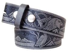 Eagle Embossed Grey Leather Belt - Snap Fastenings for Western Cowboy Buckles