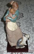 """Jealous Friend"" Lladro Gres Figurine #2187 Mother And Baby With Family Dog CUTE"