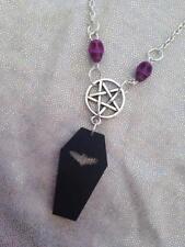 Coffin Skull Necklace Gothic Bead Skeleton Black  Bat Halloween Goth Wicca Chain
