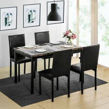 5Pcs Black Dining Set Kitchen Room Table Set Dining Table and 4 Leather Chairs