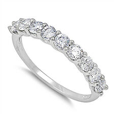 Sterling Silver .925 Round Cut Bridal CZ Anniversary Wedding Band Ring 4-10