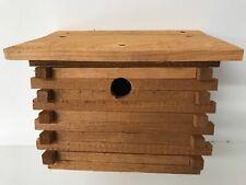 "Blue Bird Homemade Wood LOG CABIN BIRDHOUSE 8""/7""/10"" Built by Craftsman"