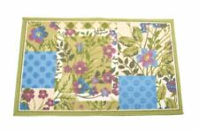 """PATCHWORK FLOWERS PRINT AREA RUG ACCENT 17x28"""" NONSKID BLUE PURPLE GREEN WHITE"""