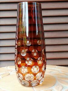 Carl Rotter Manufaktur Lübeck längl. Vase Kristall Kugelschliff bernsteinfarben