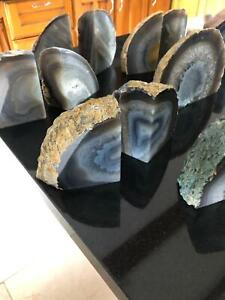 Grey Agate Natural Edge Microcrystalline Quartz Premium Bookends Ornament Pair