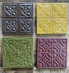 Set of 4 Embossed Metal Square Wall Decor Red Green Yellow Brown Flower Hanging