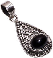 925 Sterling Silver Pendant, Natural Black Onyx Handcrafted Women Jewelry P1108b