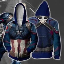 Avengers Captain America Hoodie Casual Sweatshirt Full-Zip Hooded Coat Jacket