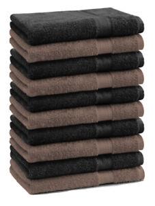 Betz 10 Stück Seiftücher PREMIUM 100% Baumwolle 30x30 cm Nuss / Schwarz