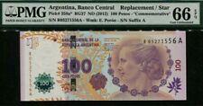 2012 ARGENTINA 100 PESOS COMMEMORATIVE PMG66 EPQ GEM UNC 'Replacement' <P-358a*>