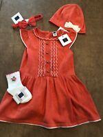 NWT Janie and Jack baby girl 3-piece coral sweater dress SET 0 3 6 9 12 18 24