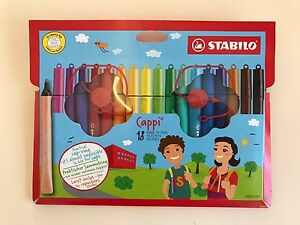 Stabilo Cappi Fibre-Tip Pens with Cap Ring - Assorted Colours Pack 12 or 18