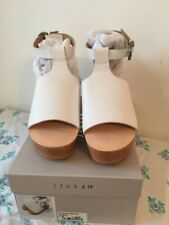 JIGSAW LADIES WHITE LEATHER PEEP TOE LINA WEDGE CLOG SANDALS SIZE 39/6 NEW