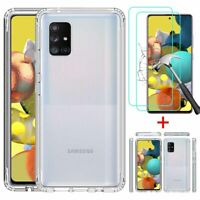 For Samsung Galaxy A51 5G Case Clear Shockproof TPU Cover+Glass Screen Protector