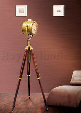 Nautical Antique Spot Light Floor Lamp Wooden Tripod  Lighting Search Light