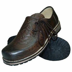 Trachtenschuhe Haferlschuhe Glattleder braun Herren-Schuhe Lederschuhe Schnürer