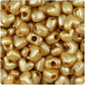 *3 for 2* 50 x Gold Pearl 12mm Heart Shape Pony Highest Quality Beads