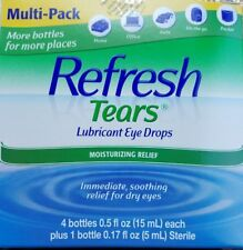 Refresh Tears Lubricant Eye Drops 4 Bottles 0.5 oz each 1 bottle 0.17 sterile