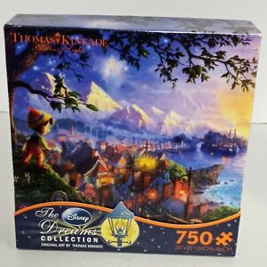 Thomas Kinkade Disney Pinocchio Wishes Upon A Star Puzzle DREAMS Collection NEW!